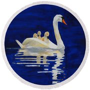 Round Beach Towel featuring the painting Safe Harbor by Rodney Campbell