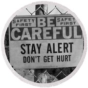 Safety First Bw Round Beach Towel