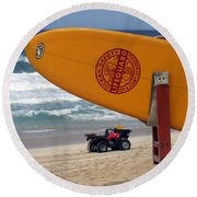 Safety First, Oahu Round Beach Towel