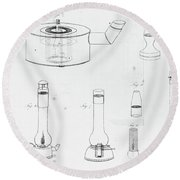 Safety Lamps Designed By Humphry Davy For Use By Miners Round Beach Towel