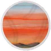 Saffron On The Mountains Round Beach Towel