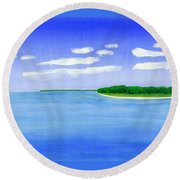 Sag Harbor, Long Island Round Beach Towel by Dick Sauer