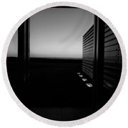 Round Beach Towel featuring the photograph Sag Harbor Sunset 2 In Black And White by Rob Hans