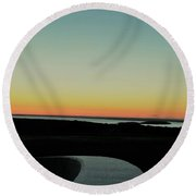 Round Beach Towel featuring the photograph Sag Harbor Sunset 3 In Black And White by Rob Hans