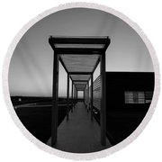 Round Beach Towel featuring the photograph Sag Harbor Sunset In Black And White by Rob Hans