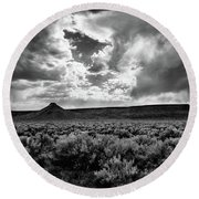 Sage And Clouds Round Beach Towel