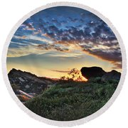Sage Ranch Sunset Round Beach Towel by Endre Balogh