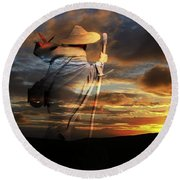 Round Beach Towel featuring the digital art Sages Of The Universe by Shadowlea Is