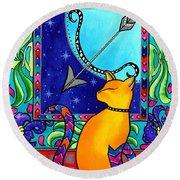 Sagittarius Cat Zodiac Round Beach Towel