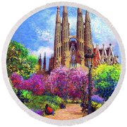 Sagrada Familia And Park,barcelona Round Beach Towel by Jane Small