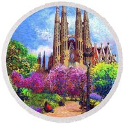 Sagrada Familia And Park Barcelona Round Beach Towel
