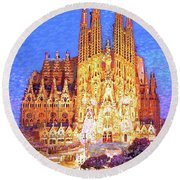 Round Beach Towel featuring the painting Sagrada Familia At Night by Jane Small