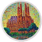 Sagrada Familia Barcelona Modern Impressionist Palette Knife Oil Painting By Ana Maria Edulescu Round Beach Towel