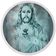 Sagrado Corazon De Jesus Round Beach Towel