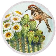 Round Beach Towel featuring the painting Saguaro And Cactus Wren by Marilyn Smith