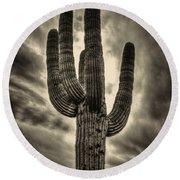Saguaro And Storm Clouds Round Beach Towel