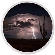Round Beach Towel featuring the photograph Saguaro Lit Up By The Lightning  by Saija Lehtonen