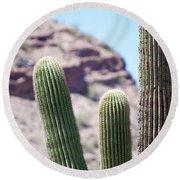 Saguaro Movie Nostalgia Round Beach Towel by Carolina Liechtenstein