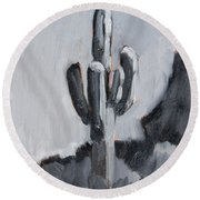 Round Beach Towel featuring the painting Saguaro Plein Air Study by Diane McClary