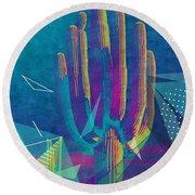 Saguaro Shatter Round Beach Towel