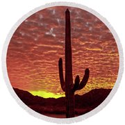 Saguaro Sunrise Round Beach Towel by Robert Bales
