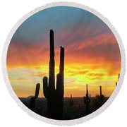 Round Beach Towel featuring the photograph Saguaro Sunset by Anthony Citro