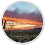 Saguaro Sunset At Lost Dutchman 2 Round Beach Towel by Greg Nyquist