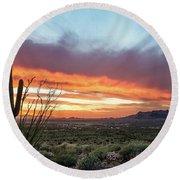 Saguaro Sunset At Lost Dutchman 2 Round Beach Towel
