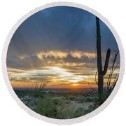 Saguaro Sunset At Lost Dutchman Round Beach Towel by Greg Nyquist