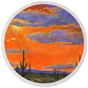 Saguaro Sunset Round Beach Towel by Johnathan Harris