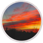 Saguaro Winter Sunrise Round Beach Towel