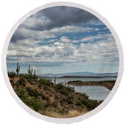 Round Beach Towel featuring the photograph Saguaro With A Lake View  by Saija Lehtonen