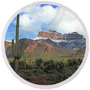 Saguaros Cholla Superstition Mountains Round Beach Towel