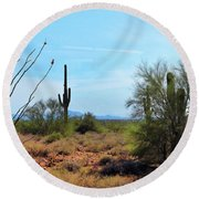 Saguaros In Sonoran Desert Round Beach Towel