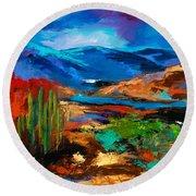 Saguaros Land Round Beach Towel by Elise Palmigiani