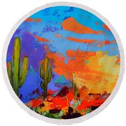 Saguaros Land Sunset By Elise Palmigiani - Square Version Round Beach Towel
