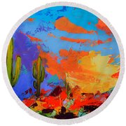 Saguaros Land Sunset Round Beach Towel by Elise Palmigiani