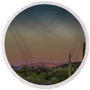 Saguaros Salute Rays Rising Round Beach Towel