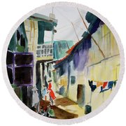 Saigon Alley Round Beach Towel