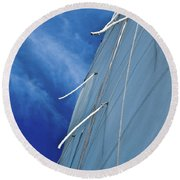 Sail And Blue Clouds Portrait Round Beach Towel