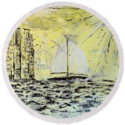 Round Beach Towel featuring the painting Sail And Sunrays by J R Seymour