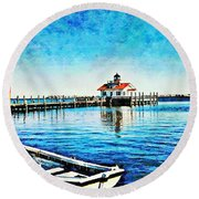 Round Beach Towel featuring the painting Sail Away by Joan Reese