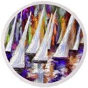 Round Beach Towel featuring the painting La Regata Decorative Horizontal Panorama Painting By Olena by OLena Art Brand
