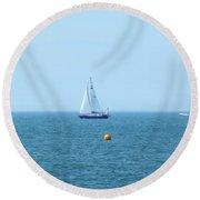 Sail Boat And Sea Round Beach Towel