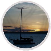 Sail Boat At Sunset Round Beach Towel