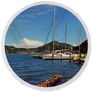 Sail Boat Round Beach Towel by Gary Wonning