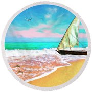 Sail Boat On The Shore Round Beach Towel