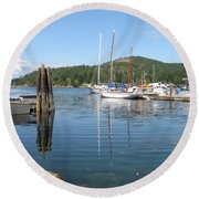 Sail Boats At Pender Horbour Round Beach Towel