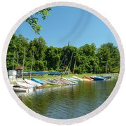Sail Boats At Rest Round Beach Towel by Donald C Morgan