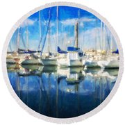 Sail Boats In Port Round Beach Towel